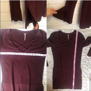 Free People Sweaters - Free People Criss Cross V-Neck Sweater Tunic Wine